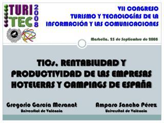 TICs, RENTABILIDAD Y PRODUCTIVIDAD DE LAS EMPRESAS HOTELERAS Y CAMPINGS DE ESPAÑA