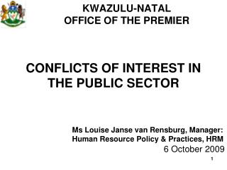 CONFLICTS OF INTEREST IN THE PUBLIC SECTOR