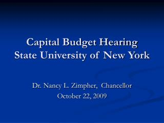 Capital Budget Hearing State University of New York