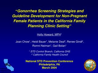 National STD Prevention Conference Philadelphia, PA March 2004