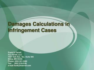 Damages Calculations in Infringement Cases