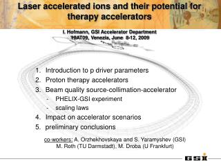 Introduction to p driver parameters Proton therapy accelerators