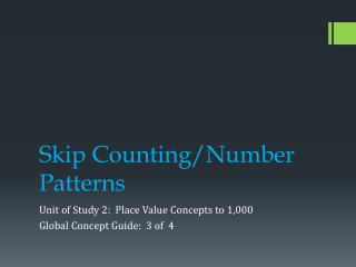 Skip Counting/Number Patterns