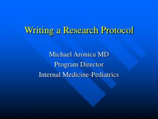 Writing a Research Protocol