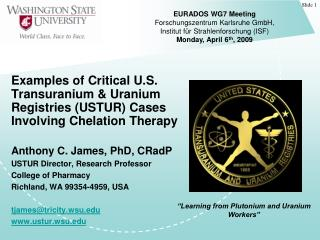 Anthony C. James, PhD, CRadP USTUR Director, Research Professor  College of Pharmacy
