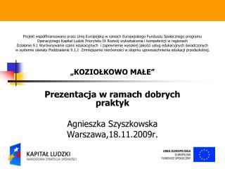 Prezentacja w ramach dobrych praktyk Agnieszka  Szyszkowska Warszawa,18.11.2009r.