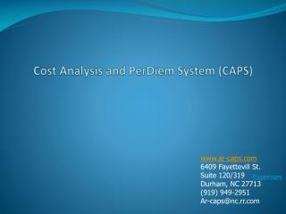 Cost Analysis and PerDiem System (CAPS)