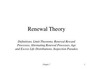 Renewal Theory