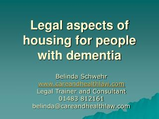 Legal aspects of housing for people with dementia
