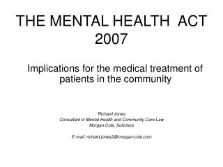 THE MENTAL HEALTH  ACT 2007