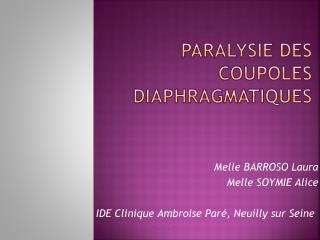 PARALYSIE DES COUPOLES Diaphragmatiques