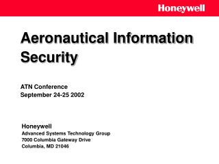 Aeronautical Information Security ATN Conference September 24-25 2002