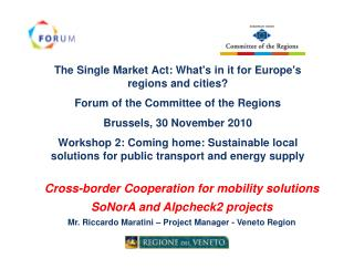 The Single Market Act: What's in it for Europe's regions and cities?
