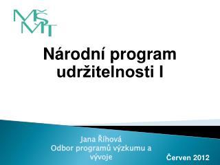 Národní program udržitelnosti I
