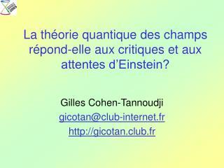 La th orie quantique des champs r pond-elle aux critiques et aux attentes d Einstein