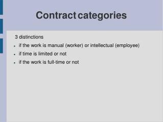 Contract categories