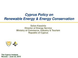 Cyprus Policy on Renewable Energy & Energy Conservation