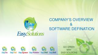 COMPANY'S OVERVIEW  &  SOFTWARE DEFINATION