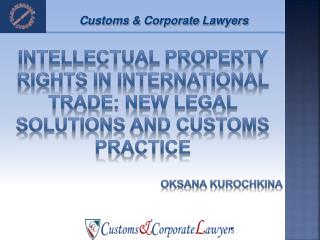 Intellectual property rights in international trade: new legal solutions and customs practice