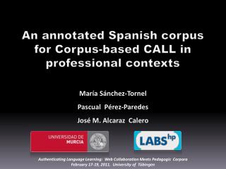 An annotated Spanish corpus for Corpus-based CALL in professional contexts