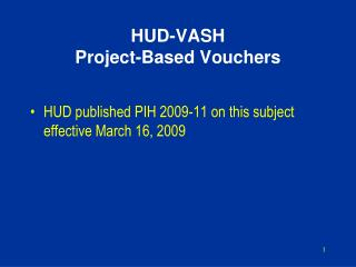 HUD-VASH  Project-Based Vouchers