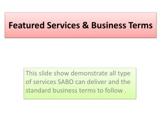 Featured Services & Business Terms