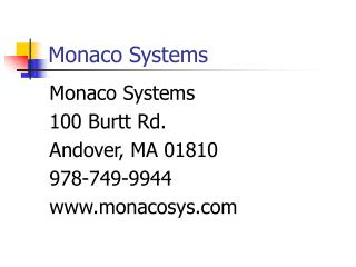Monaco Systems