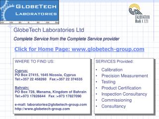 SERVICES Provided:    Calibration   Precision Measurement   Testing    Product Certification