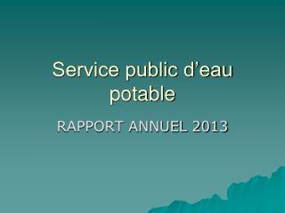 Service public d�eau potable