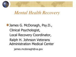 Mental Health Recovery