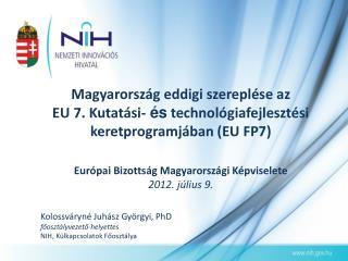Kolossváryné Juhász Györgyi, PhD főosztályvezető-helyettes NIH, Külkapcsolatok Főosztálya