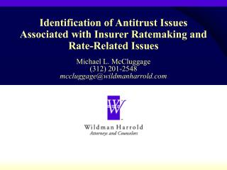 Identification of Antitrust Issues Associated with Insurer Ratemaking and Rate-Related Issues
