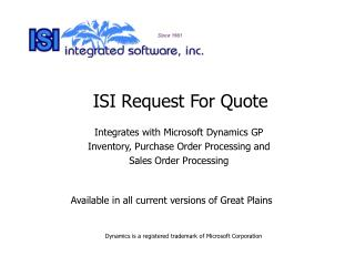 ISI Request For Quote