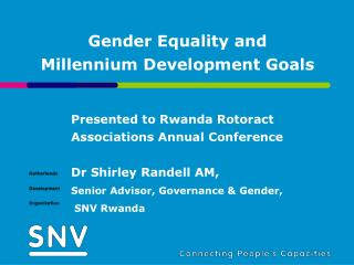 Gender Equality and   Millennium Development Goals