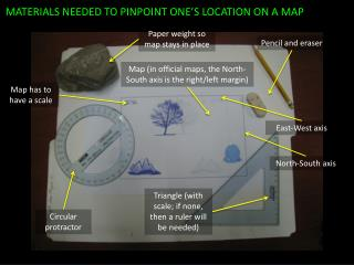 MATERIALS NEEDED TO PINPOINT ONE'S LOCATION ON A MAP