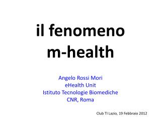 il fenomeno  m-health