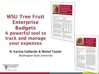 WSU Tree Fruit Enterprise Budgets A powerful tool to track and manage your expenses