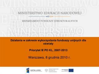 Działania w zakresie wykorzystania funduszy unijnych dla oświaty Priorytet III PO KL, 2007-2013