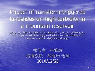 報告者:林雅詩 指導教授:蔡龍珆 老師 2010/12/23