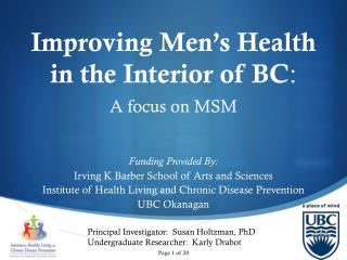 Improving Men's Health in the Interior of BC :