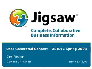 User Generated Content – ASIDIC Spring 2008