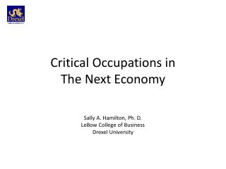Critical Occupations in  The Next Economy