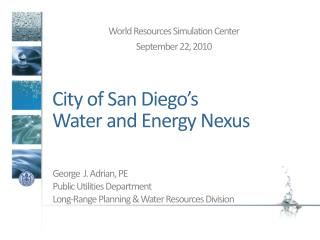 City of San Diego�s  Water and Energy Nexus