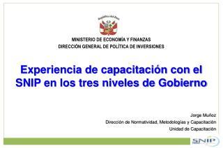 MINISTERIO DE ECONOMÍA Y FINANZAS DIRECCIÓN GENERAL DE POLÍTICA DE INVERSIONES