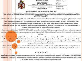 RESOLUCION  No.  023   DE  OCTUBRE  22 DE   2013