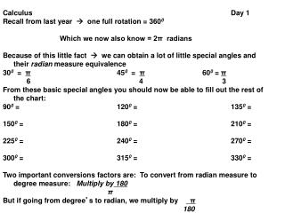 Calculus							Day 1 Recall from last year      one full rotation = 360 0