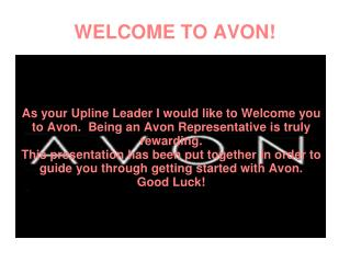 WELCOME TO AVON!