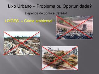 Lixo Urbano – Problema ou Oportunidade?