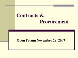 Contracts &  			Procurement