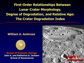 First-Order Relationships Between Lunar Crater Morphology,